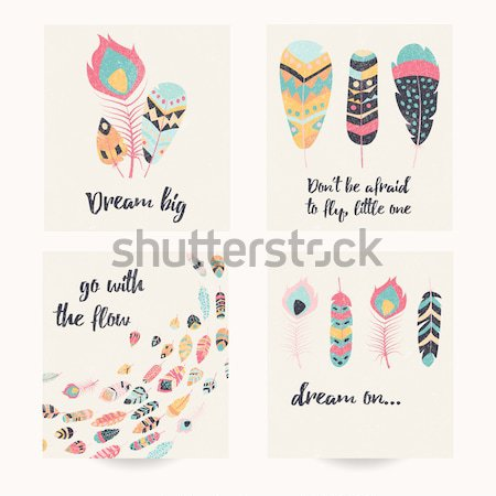 Kartpostal dizayn ilham verici aktarmak bohem renkli Stok fotoğraf © BlueLela