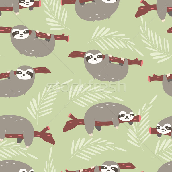 Seamless pattern with cute jungle sloths on green background Stock photo © BlueLela