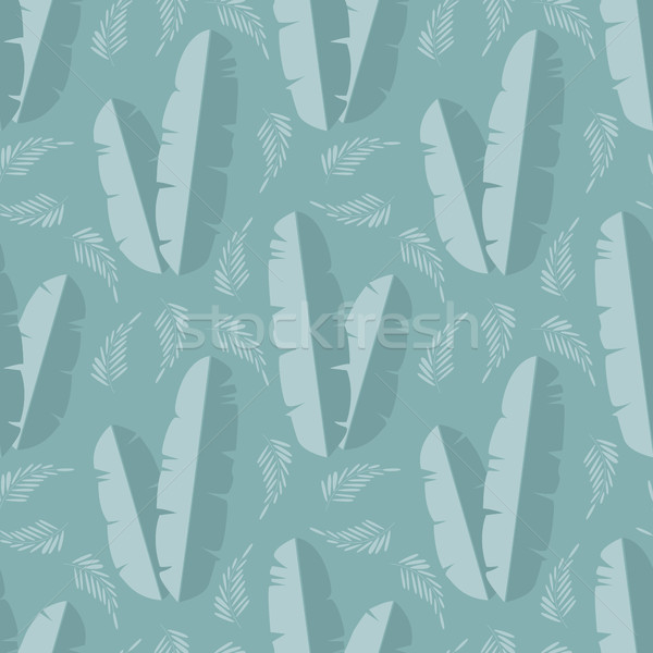 Seamless pattern with jungle palm leaves on blue background Stock photo © BlueLela