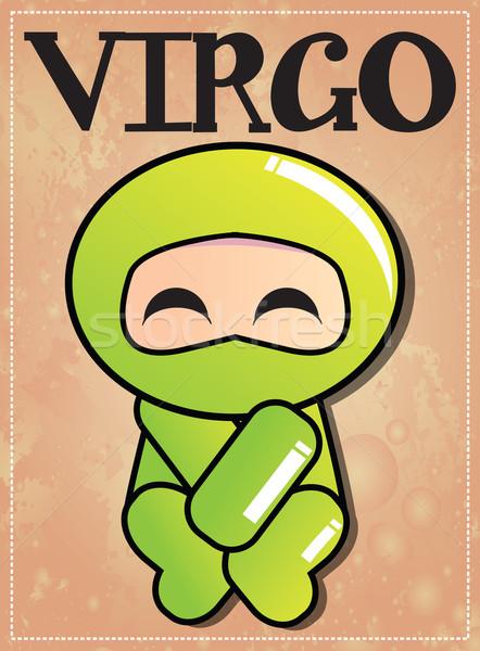 Stock photo: Zodiac sign Virgo with cute black ninja character, vector