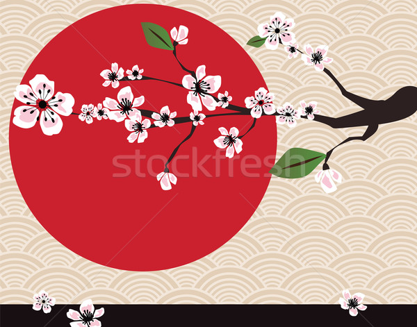 Japanese card with cherry blossom, sakura and traditional Japane Stock photo © BlueLela