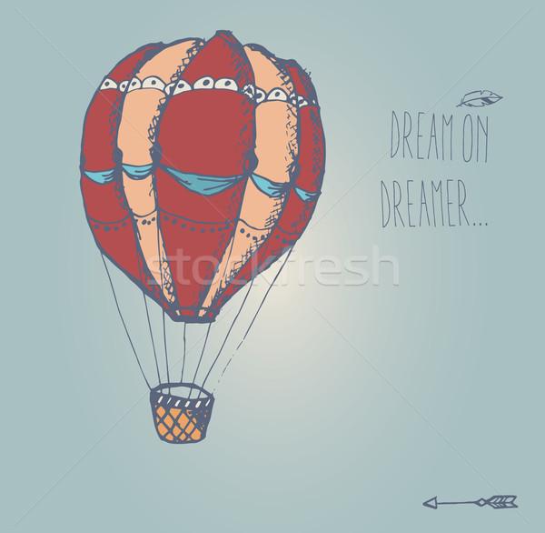 Kézzel rajzolt klasszikus hőlégballon inspiráló üzenet nyár Stock fotó © BlueLela