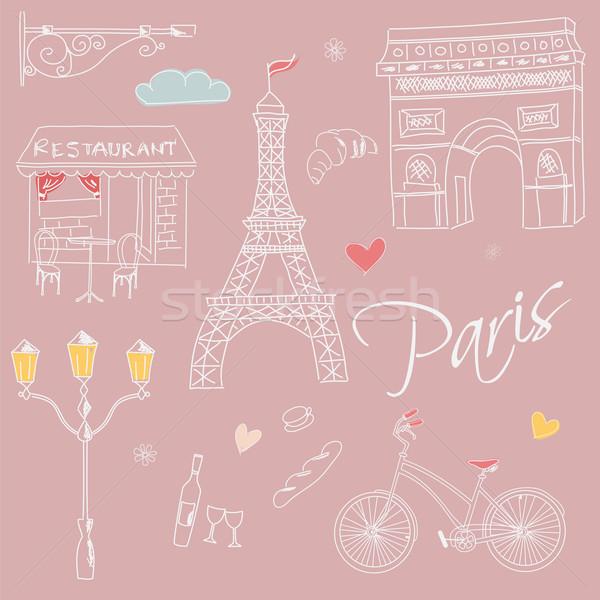 Paris semboller kartpostal sokak dizayn Stok fotoğraf © BlueLela