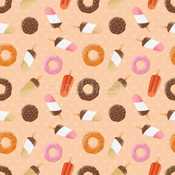 Seamless pattern with ice cream and colorful tasty donuts, vector illustration Stock photo © BlueLela