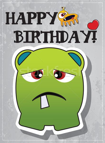 Feliz cumpleaños monstruo tarjeta corazón cumpleanos fondo Foto stock © BlueLela