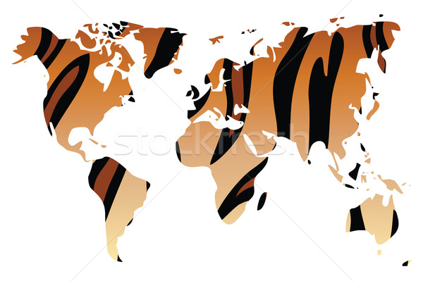 World map in animal print design, tiger pattern, vector illustra Stock photo © BlueLela
