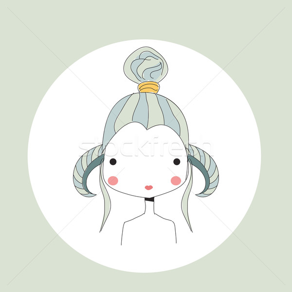 Horoscope Aries sign, girl head vector illustration © Jelena