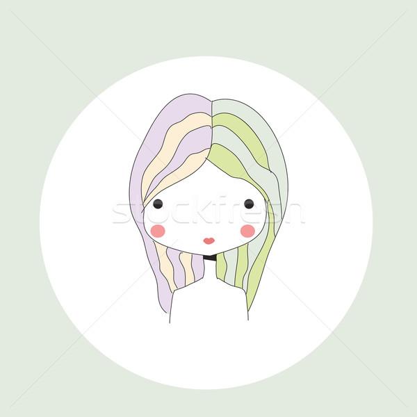 Horoscope Gemini sign, girl head Stock photo © BlueLela