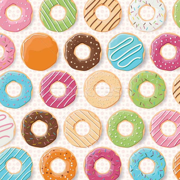 Pattern background with colorful glossy donuts Stock photo © BlueLela