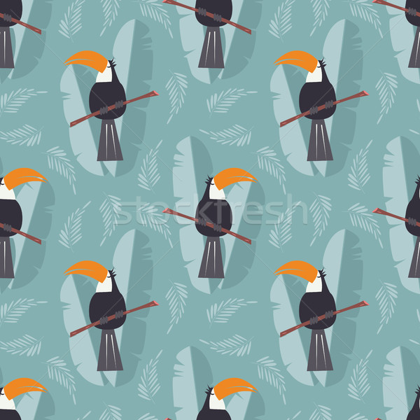 Seamless pattern with cute jungle parrot toucan on blue background Stock photo © BlueLela