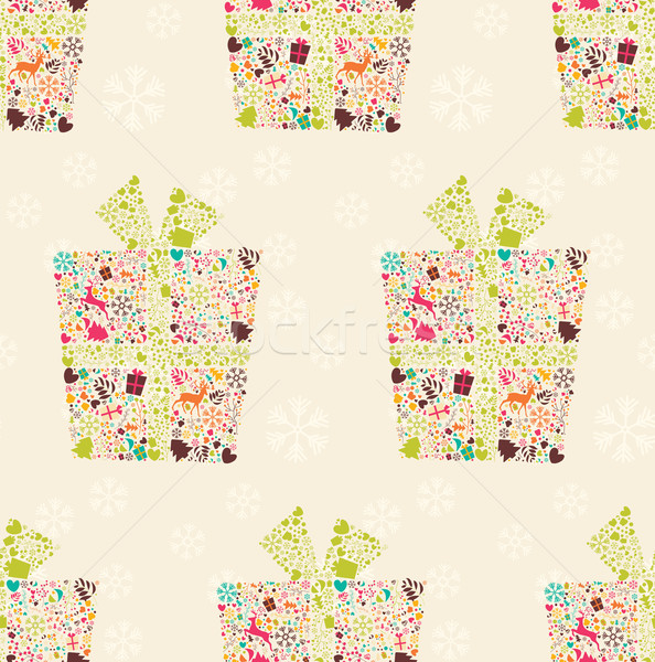 Seamless pattern with ornamental Christmas gift box with reindeers, snowflakes and flowers, vector i Stock photo © BlueLela