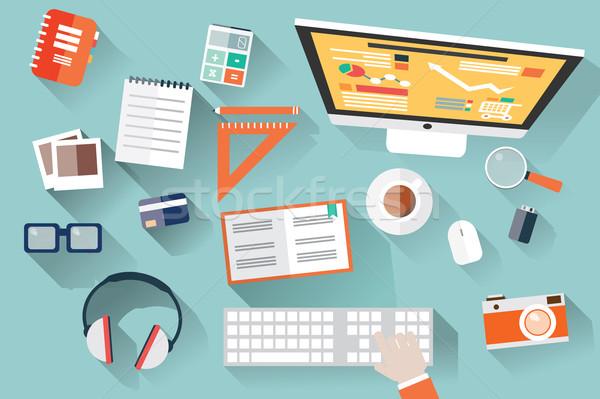 Flat design objects, work desk, long shadow, office desk, comput Stock photo © BlueLela