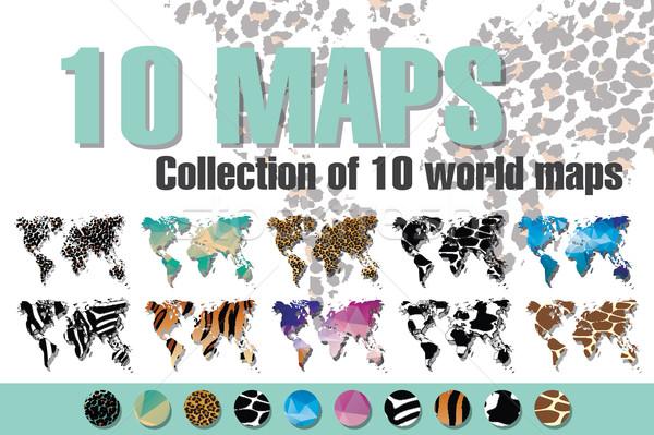 Gyűjtemény 10 világ térképek különböző dizájnok Stock fotó © BlueLela