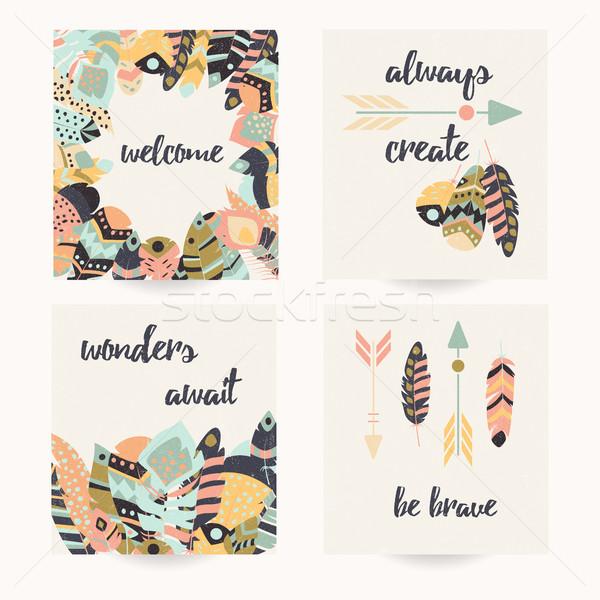 Briefkaart ontwerp citaat boheems kleurrijk Stockfoto © BlueLela