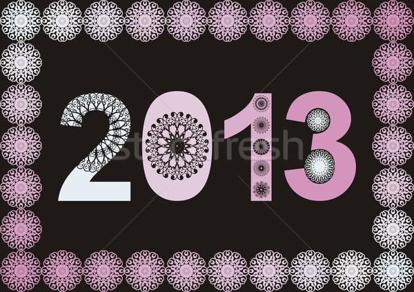 2013 frame nero rosa abstract anno Foto d'archivio © blumer1979