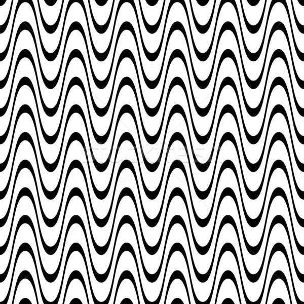 Bezszwowy falisty line wzór czarny tekstury Zdjęcia stock © blumer1979