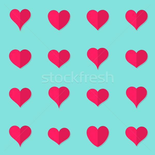 вектора сердце иконки оригами стиль простой Сток-фото © blumer1979