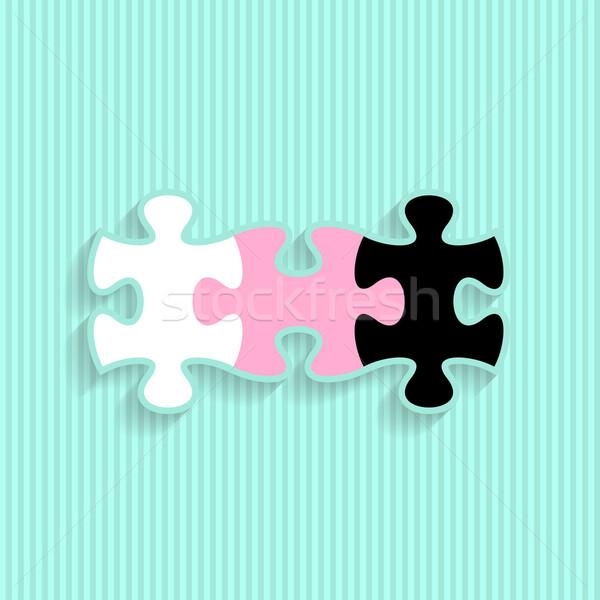 Wedding invitation with puzzle pieces Stock photo © blumer1979