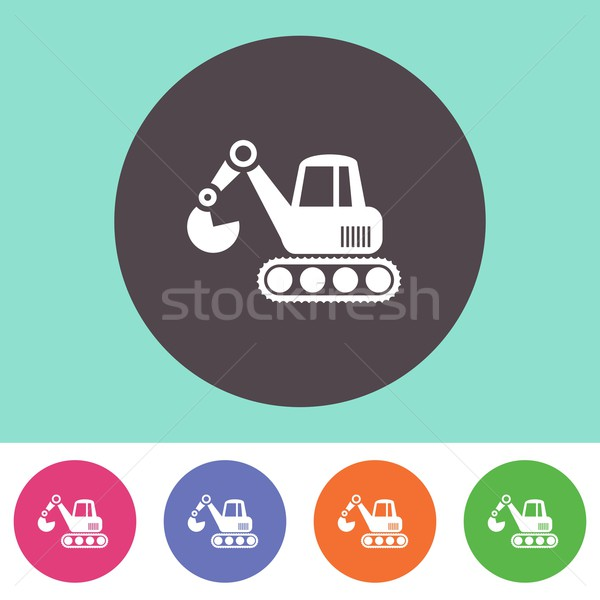掘削機 アイコン ベクトル カラフル ボタン ビジネス ストックフォト © blumer1979