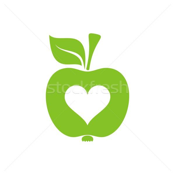 Apple Symbol Of Healthy Heart Vector Illustration David Benes