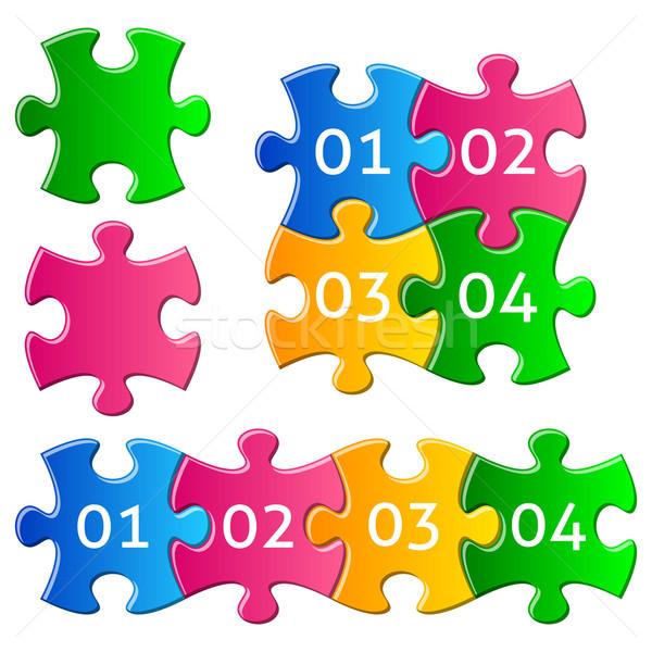 Stockfoto: Kleurrijk · puzzelstukjes · vector · helling · stukken