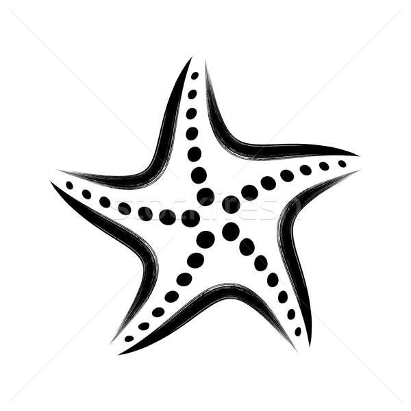 черный вектора стилизованный Starfish икона Сток-фото © blumer1979
