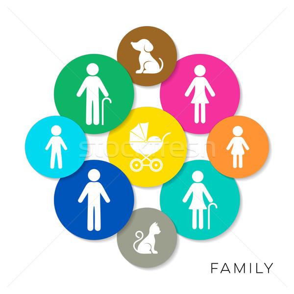 Stockfoto: Vector · familie · iconen · moderne · kleurrijk