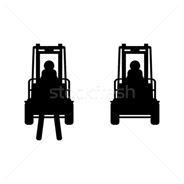 Black vector fork lift truck icon Stock photo © blumer1979