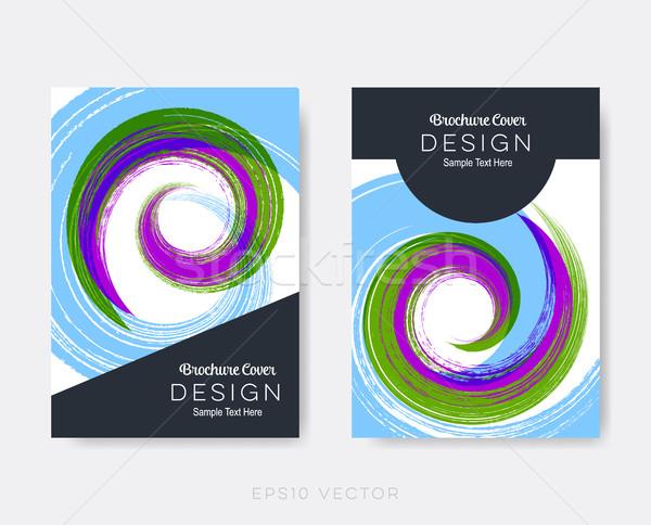 Creative modernes brochure design modèles spirale Photo stock © blumer1979