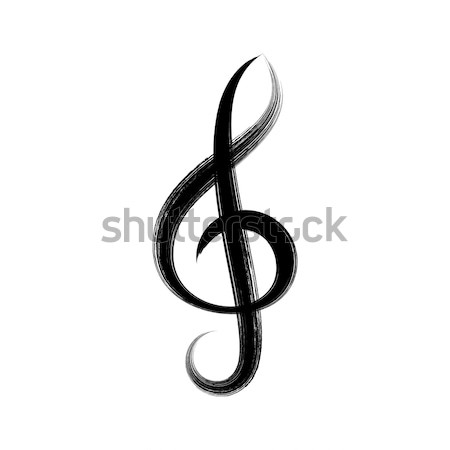 Black vector treble clef icon Stock photo © blumer1979
