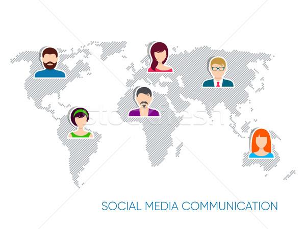 Stok fotoğraf: Vektör · sosyal · medya · iletişim · dünya · haritası · dizayn · iş