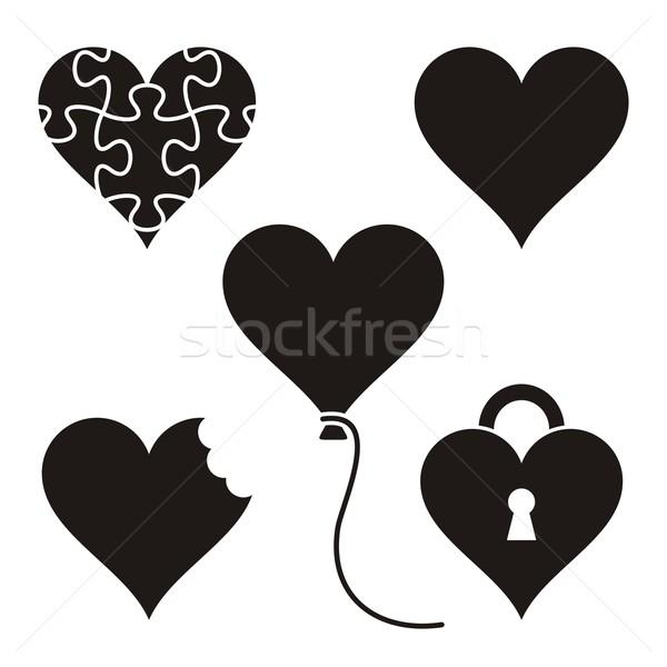 Piros szívek szett különböző vektor fekete Stock fotó © blumer1979