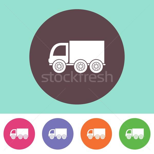 Teslim kamyon ikon vektör renkli düğmeler dizayn Stok fotoğraf © blumer1979