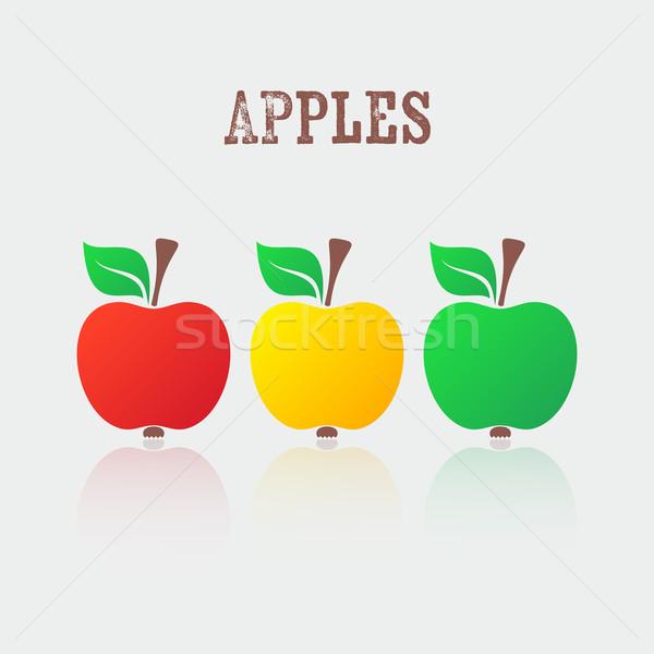 вектора яблоко иконки красный желтый зеленый Сток-фото © blumer1979