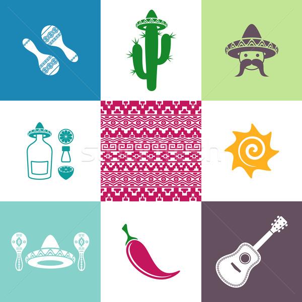 ベクトル メキシコ 標識 アイコン カラフル 正方形 ストックフォト © blumer1979