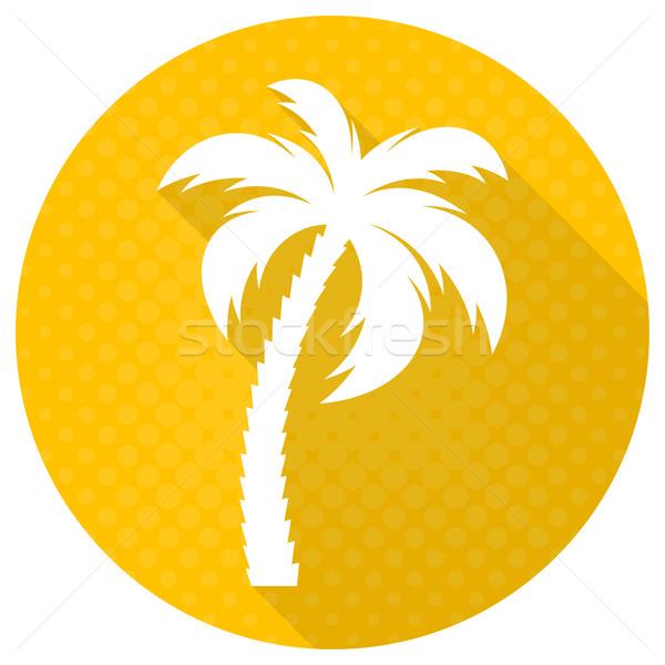 Foto stock: Branco · vetor · palmeira · ícone · amarelo · praia