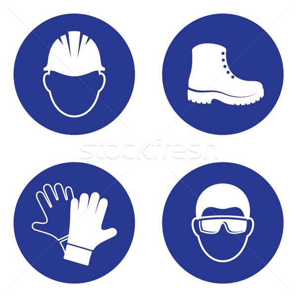 Verplicht gezondheid veiligheid borden eenvoudige industriële Stockfoto © blumer1979