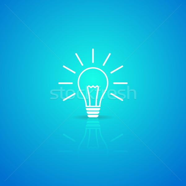 żarówka ikona biały wektora niebieski działalności Zdjęcia stock © blumer1979