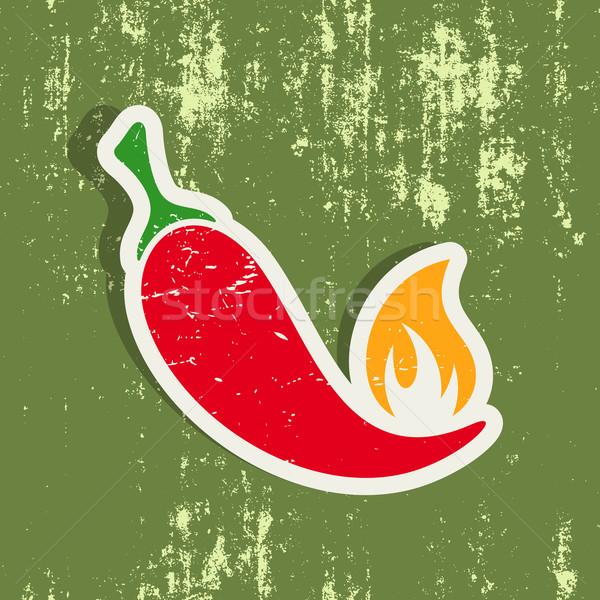 Stock photo: Chilli pepper label