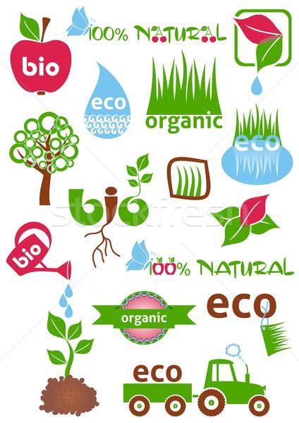 Bio eco coloré icônes symboles Photo stock © blumer1979