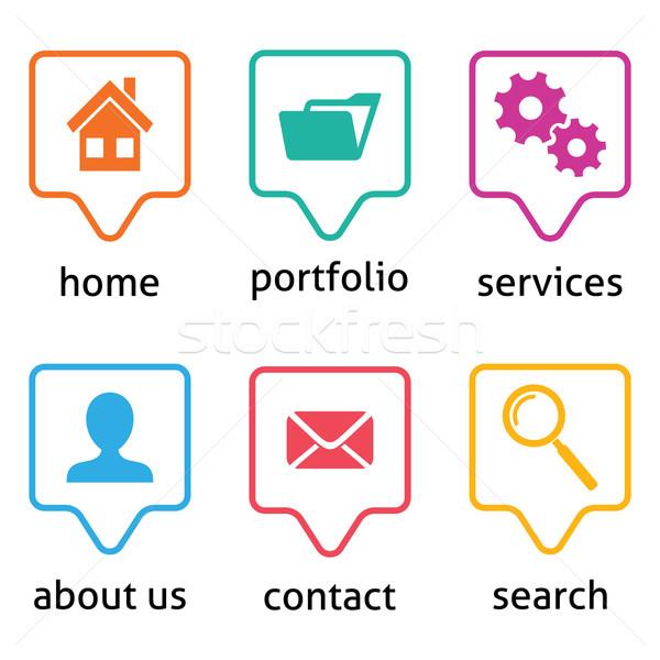 Vecteur site menu icônes coloré blanche Photo stock © blumer1979