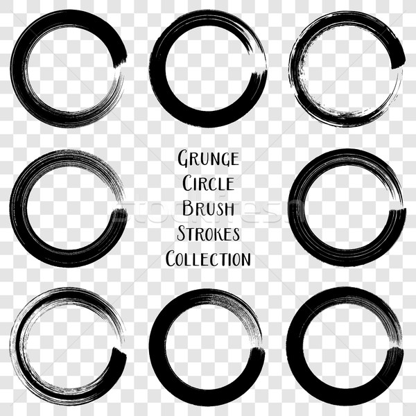 Black vector grunge circle brush strokes Stock photo © blumer1979