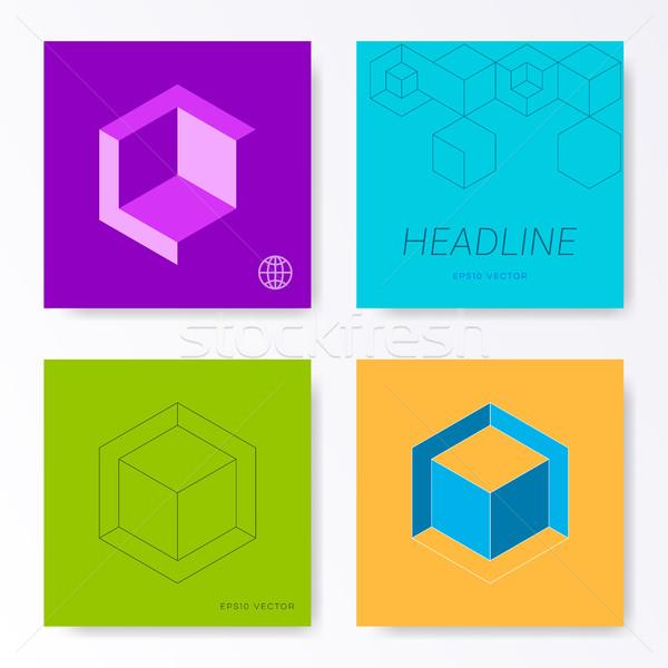 Minimalist square card cover design templates Stock photo © blumer1979
