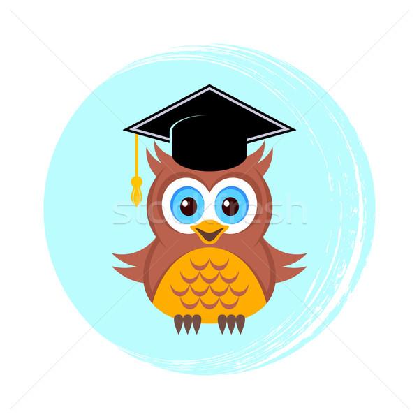 Sevimli baykuş mezuniyet şapka okul öğrenci Stok fotoğraf © blumer1979