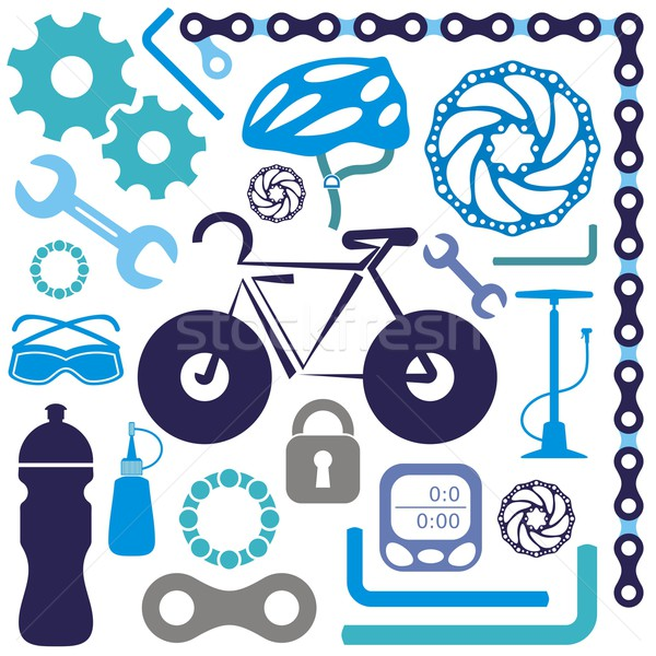 Bicikli ikon színes gyűjtemény bicikli kellékek Stock fotó © blumer1979