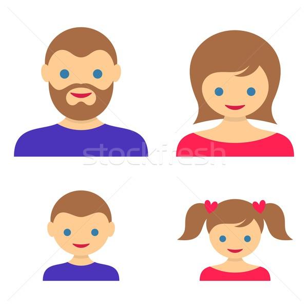 Family member vector icons Stock photo © blumer1979
