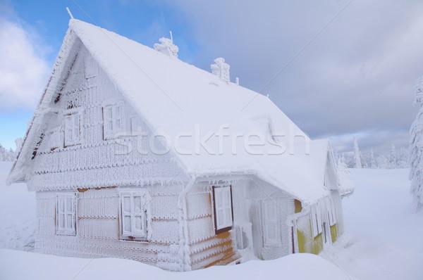 хижина зима гор Blue Sky снега горные Сток-фото © blumer1979