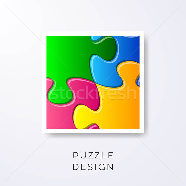 Vector colorful puzzle pieces detail Stock photo © blumer1979