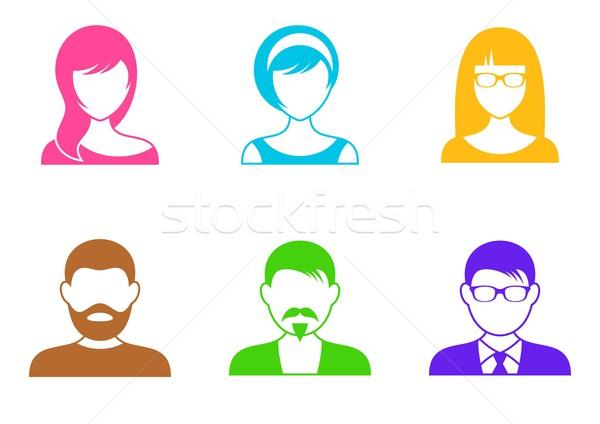 Сток-фото: люди · иконки · мужчин · женщины · красочный · белый