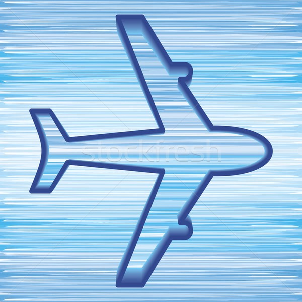Avión símbolo simple cielo azul viaje aeropuerto Foto stock © blumer1979